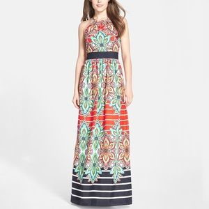 Eliza J Floral Striped Halter Maxi Dress